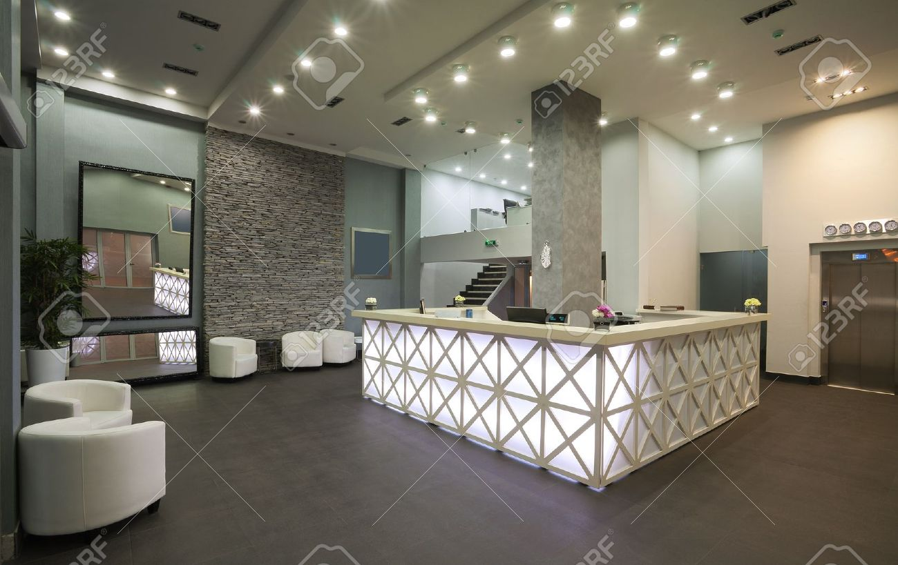 Interior Of A Hotel Reception, Modern Style. Stock Photo, Picture ...