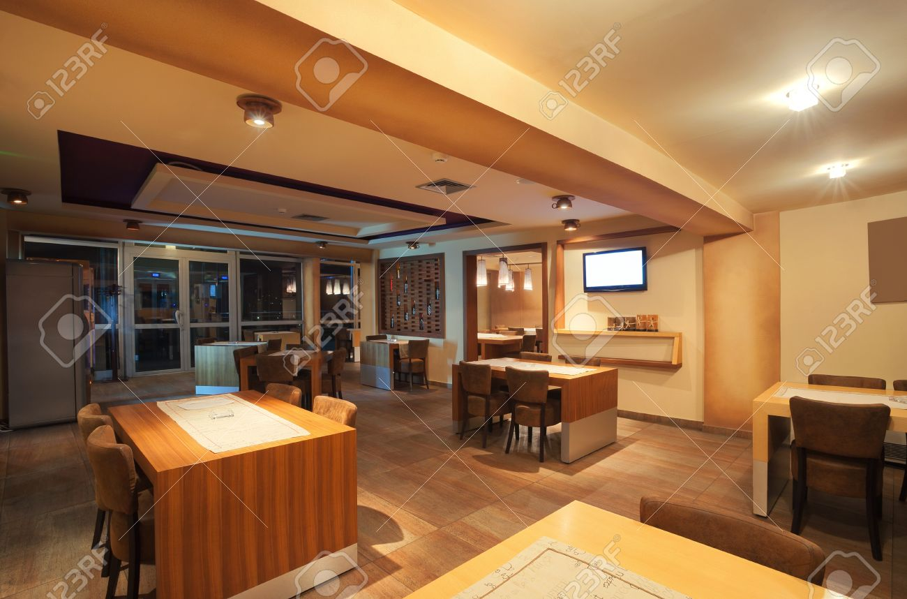 Interior of a modern restaurant, classical design, by night. Stock Photo - 11293580
