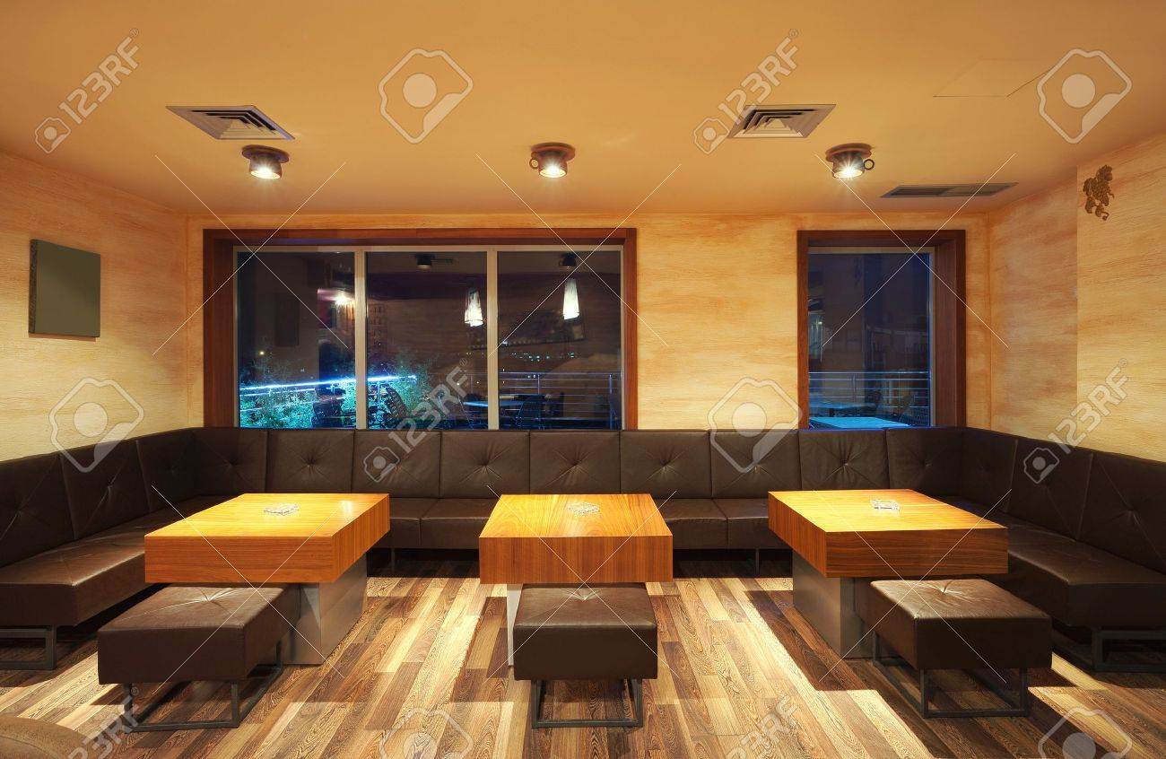 interior of a modern restaurant, classical design,night. stock