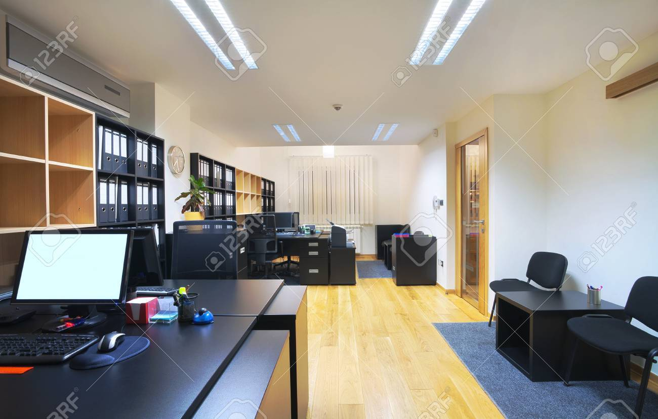 interior of an office modern design simple furniture stock photo 12390289