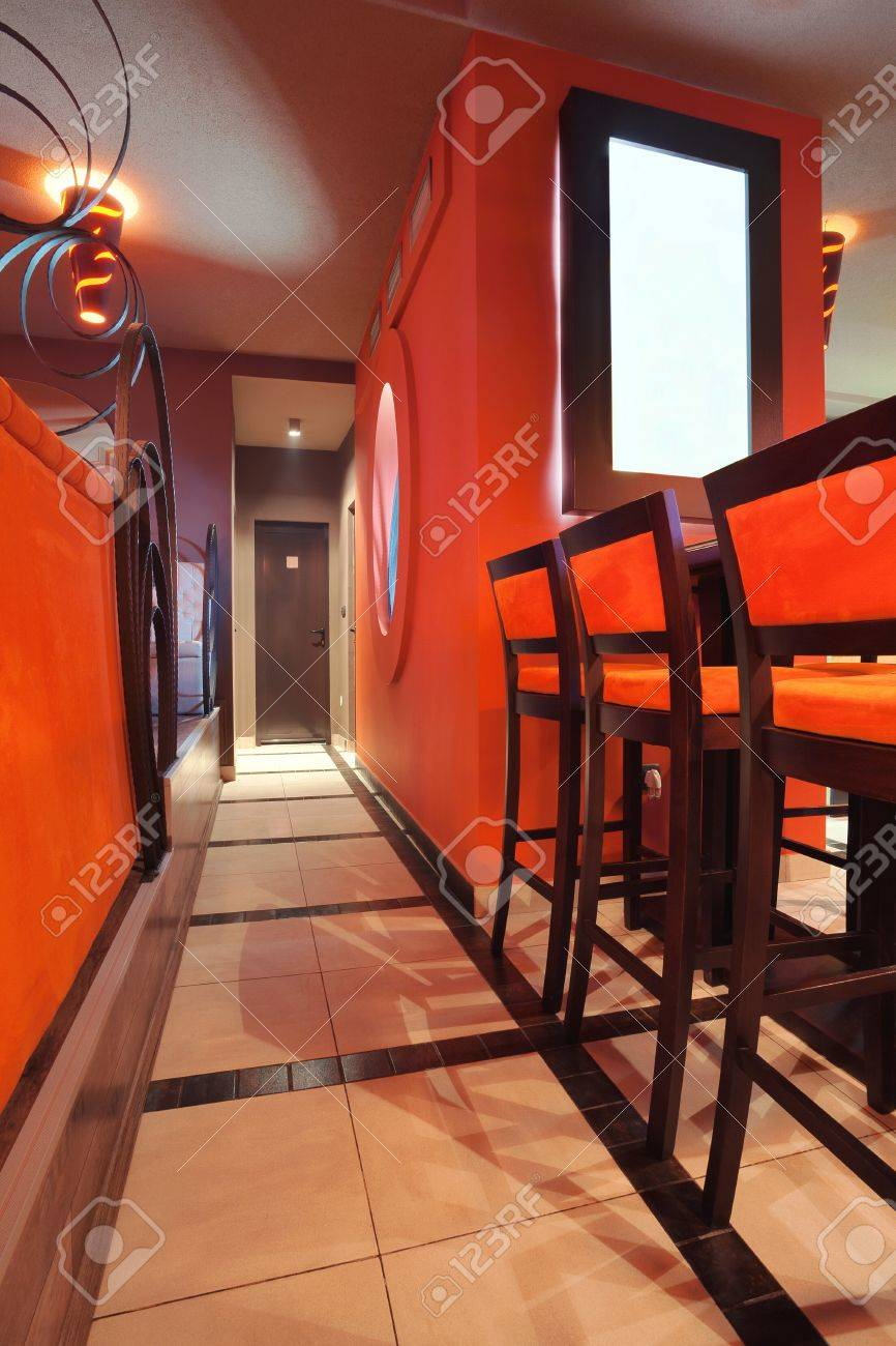 Interior Of A Restaurant Modern Design In Few Colors Orange Stock Photo Picture And Royalty Free Image Image 12753643