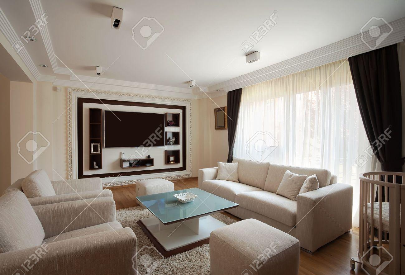Intérieur d'un salon moderne en blanc. banque d'images et photos ...