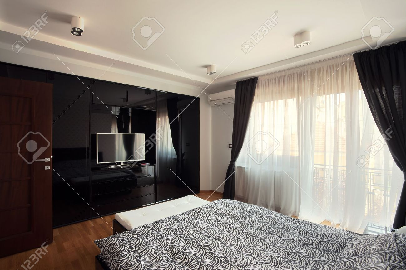 Interior Of A Modern Bedroom Black And White Design Stock Photo 15155311