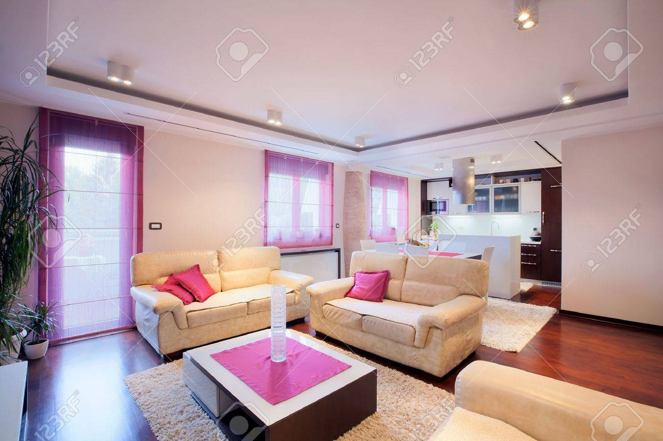 Interior Of Modern Home With Furniture. Stock Photo, Picture nd ... - ^
