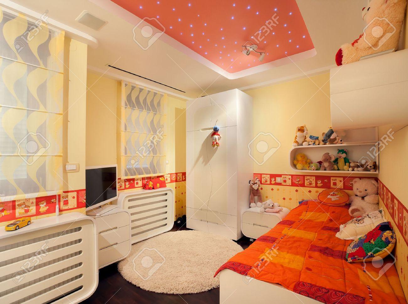 Intérieur d'une chambre d'enfant, design moderne, avec des meubles ...