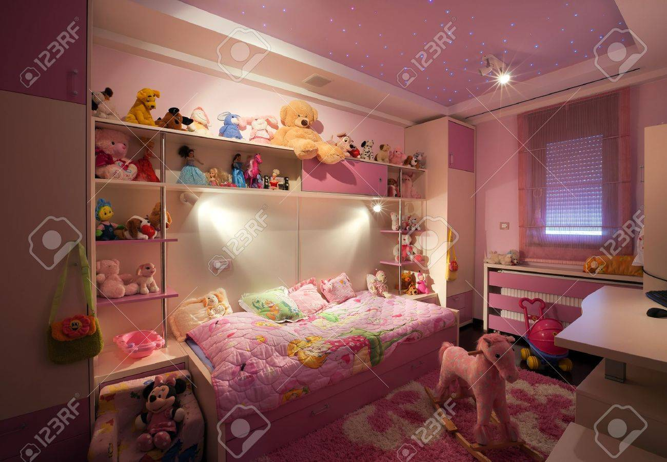 Interior of a kid room, modern design, with furniture and toys all around. Stock Photo - 15314596