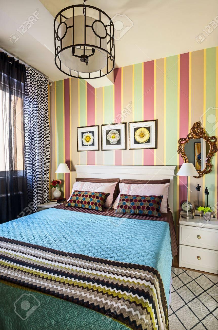 interieur van een slaapkamer, retro-stijl. royalty-vrije foto, Deco ideeën