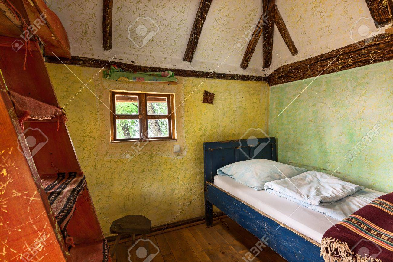 Interior of a wooden house, traditional Serbian style. Stock Photo - 22020393