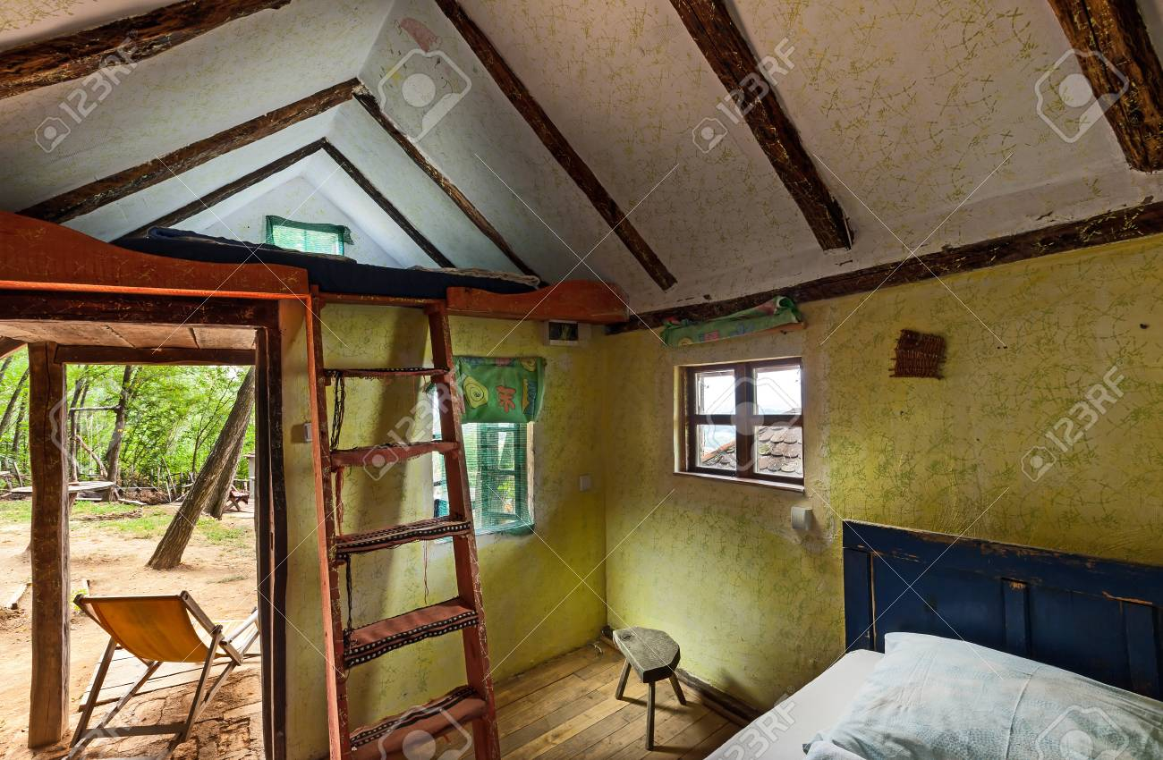 Interior of a wooden house, traditional Serbian style. Stock Photo - 22020395