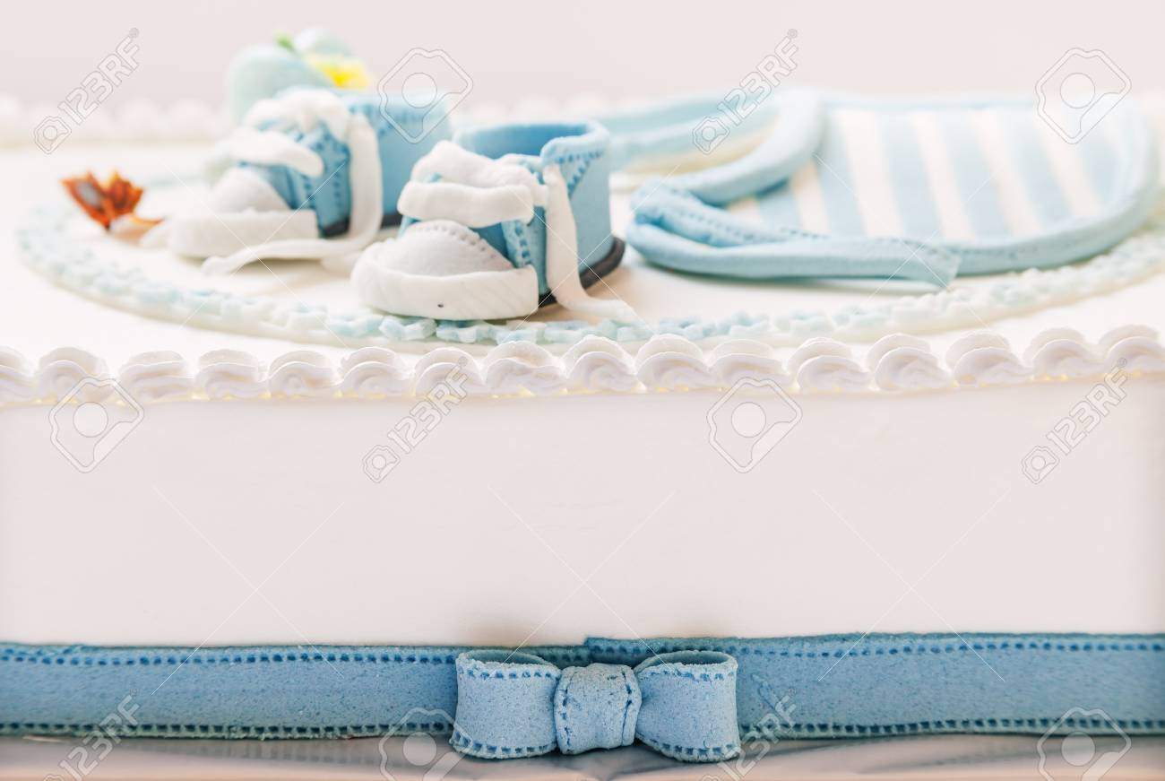 Birthday Cake For Baby Blue And White Design On Light Gray Stock