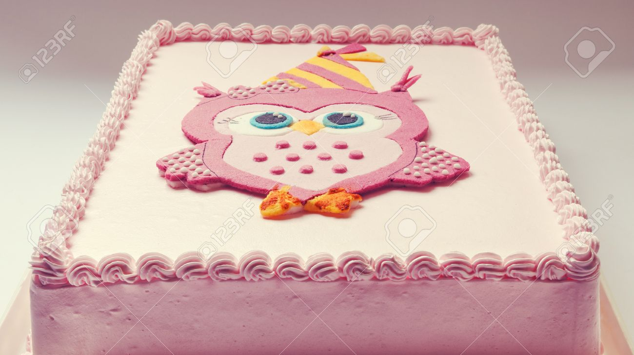Pink Birthday Cake With Funny Owl On Top Stock Photo Picture And