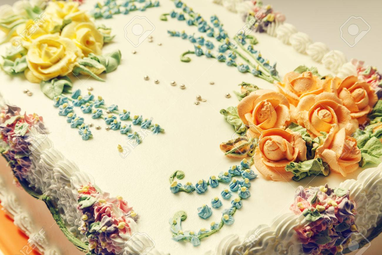 Classical birthday cake design with a lot of flowers of cream stock classical birthday cake design with a lot of flowers of cream stock photo 26074441 izmirmasajfo