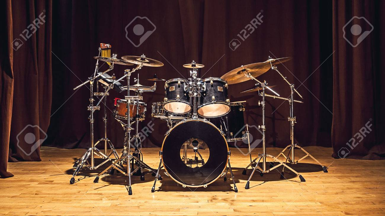 Modern Drum Set On Stage Prepared For Playing Stock Photo Picture