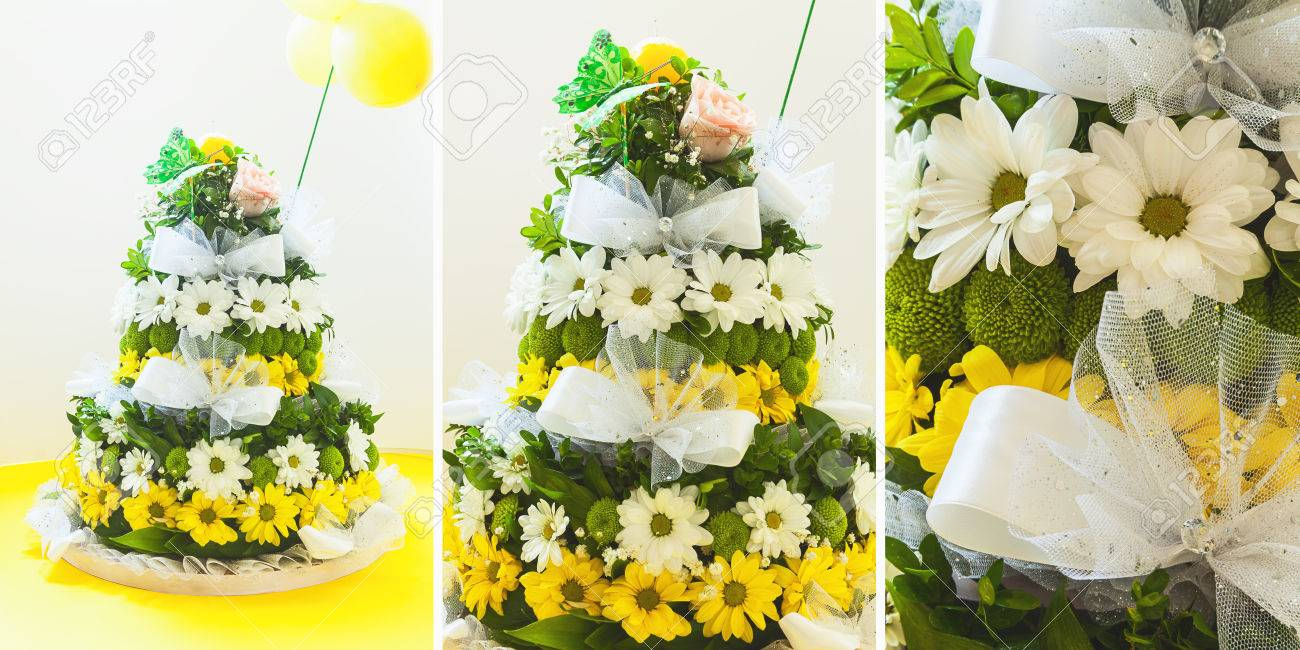 Flower Decoration Arrangement Looks Like Birthday Cake Stock