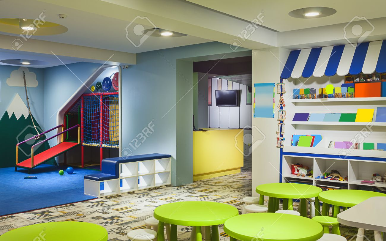 Modern kindergarten interior details of toys and equipment