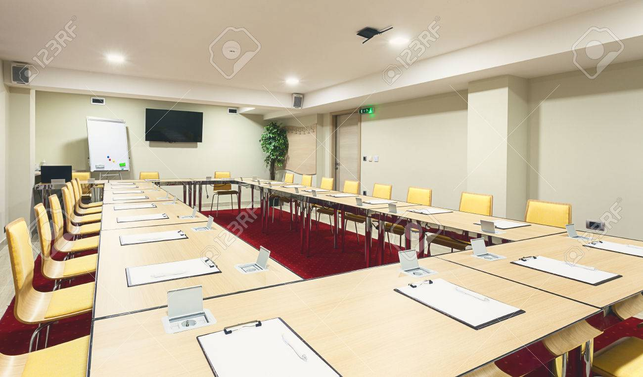 Interior Of A Modern Conference Room Tables With Built In Power