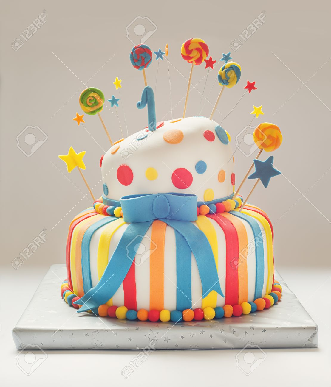 Funny Birthday Cake With Number One On Top Sweet Colorful Decoration Stock Photo