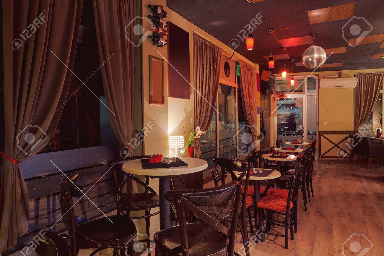Interior Of A Modern Cafe In Retro Style Night Scene Illumination Stock Photo Picture And Royalty Free Image Image 46967031