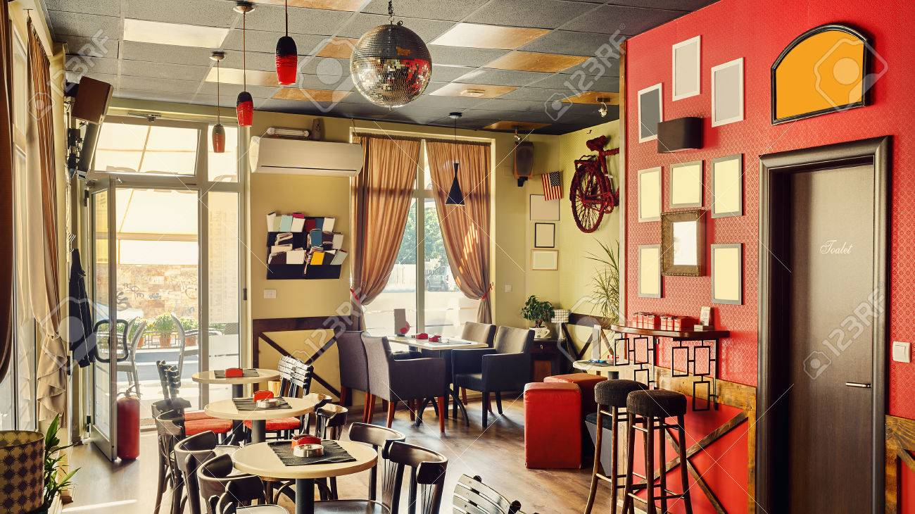 Interior Of A Modern Cafe In Retro Style During Day Furniture Stock Photo Picture And Royalty Free Image Image 46970297