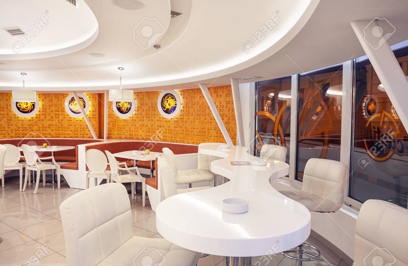 Interior Of A Modern Cafe Bar White Futuristic Furniture With Stock Photo Picture And Royalty Free Image Image 60455920
