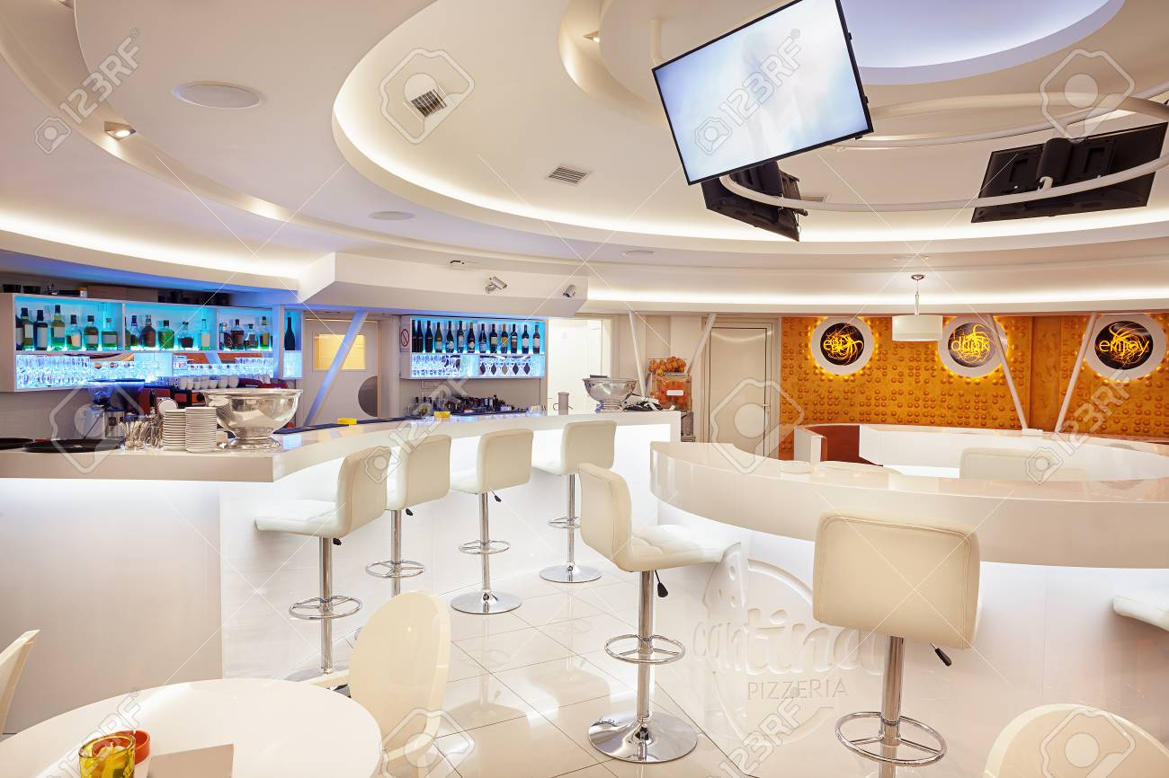 Interior Of A Modern Cafe Bar White Futuristic Furniture With Stock Photo Picture And Royalty Free Image Image 60455926