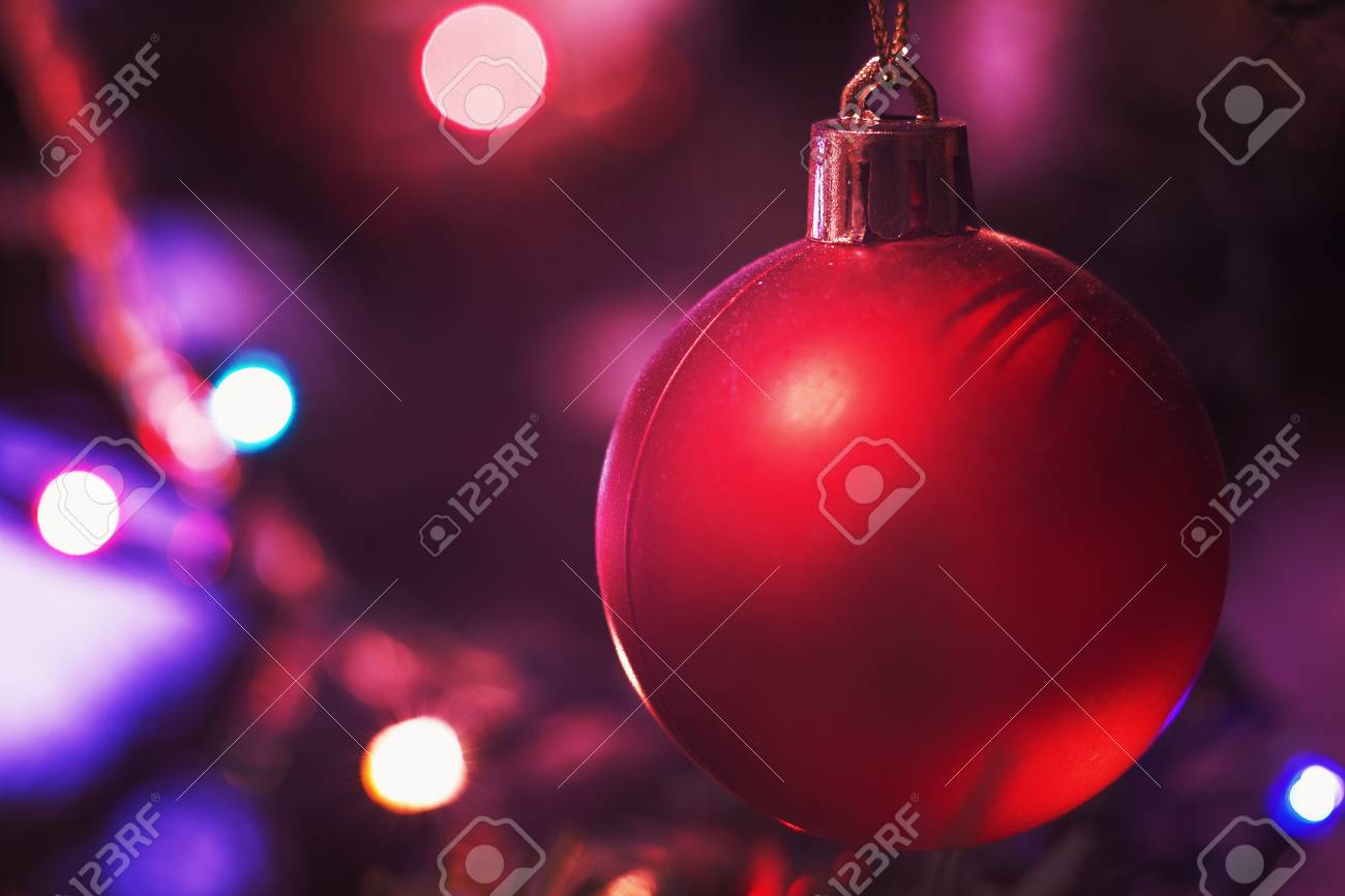 Closeup View Of Colorful Parts Of Christmas Tree With Ornaments And Lights