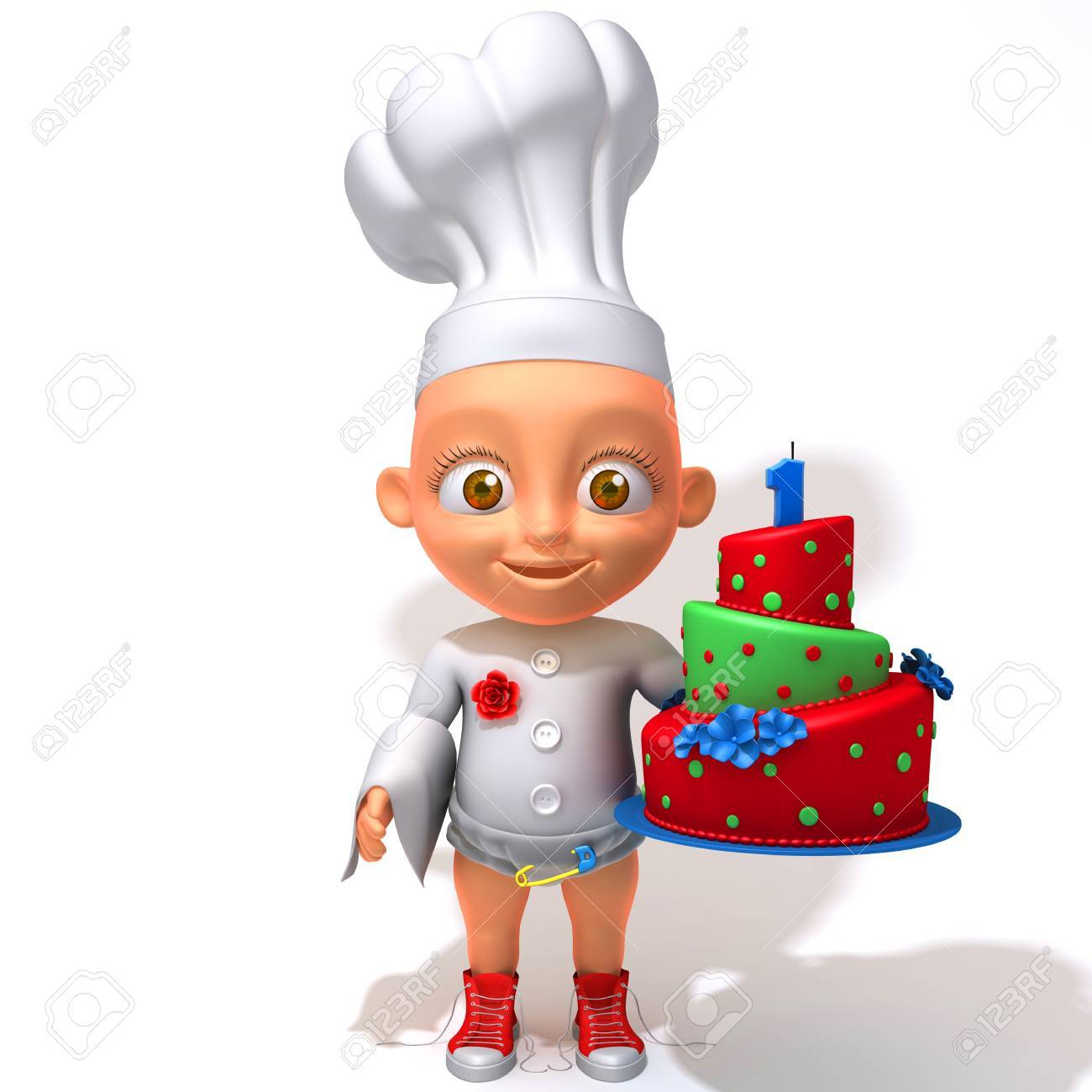 Baby Jake Chef With Birthday Cake Stock Photo Picture And Royalty