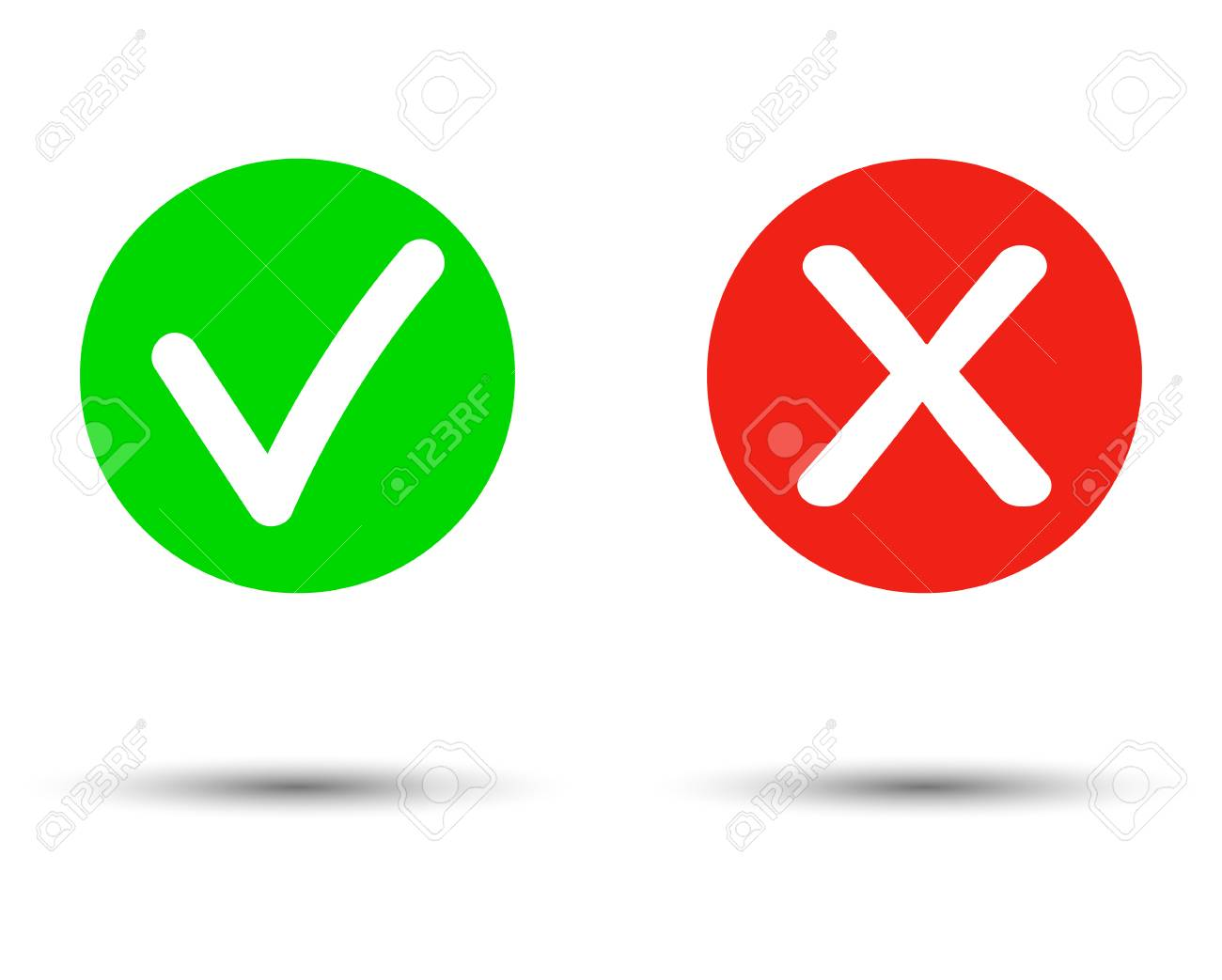 True or false Set of trendy flat check mark and cross icons. Vector illustration isolated on transparent background. - Vector - 115653246