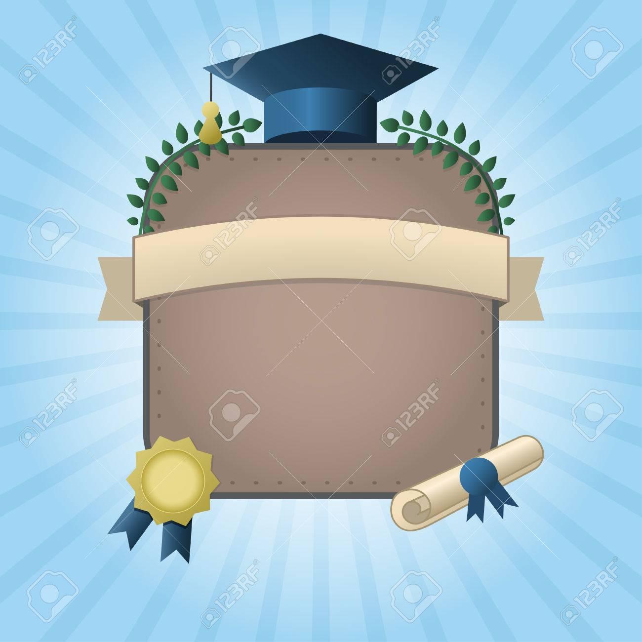 Vector Illustration D Un Certificat Ou Une Carte Postale Graduation Modele D Invitation Avec Le Chapeau Defilement Wraith Et Sceau Sur Fond