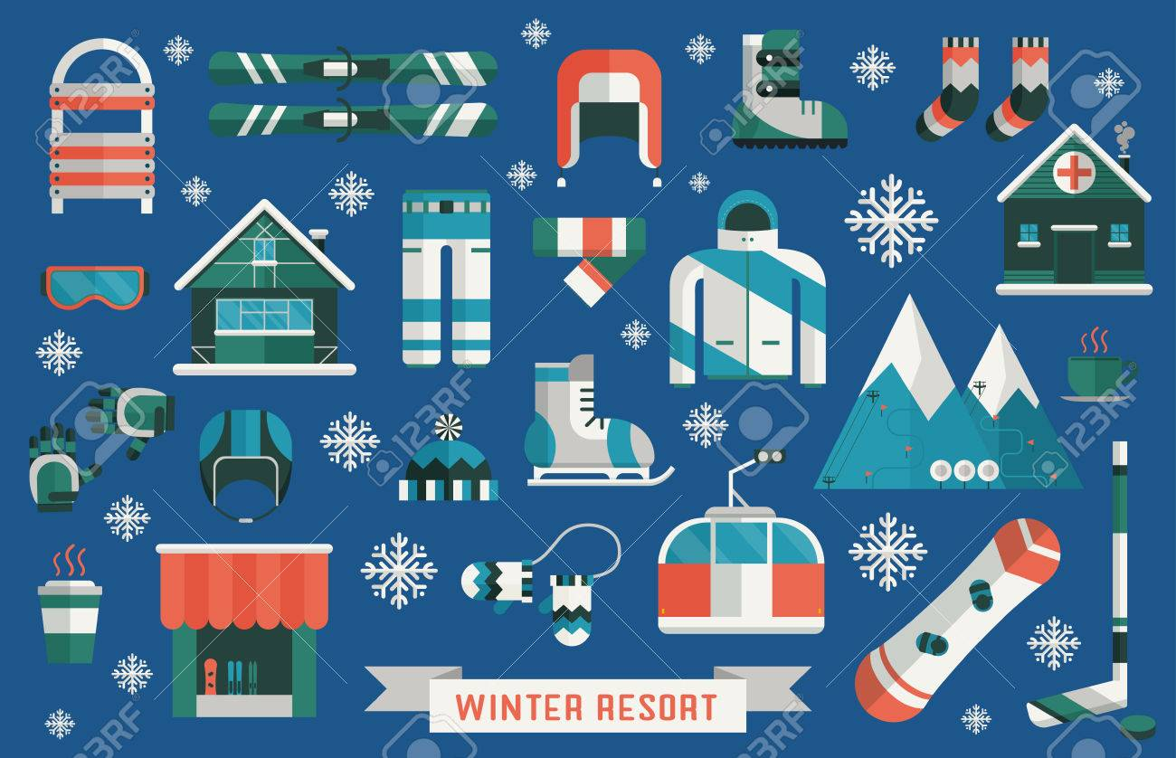 6dd2f0dbedb2 Winter sports gear pictogram collection. Winter resort icon set. Outdoor  winter activity lifestyle concept