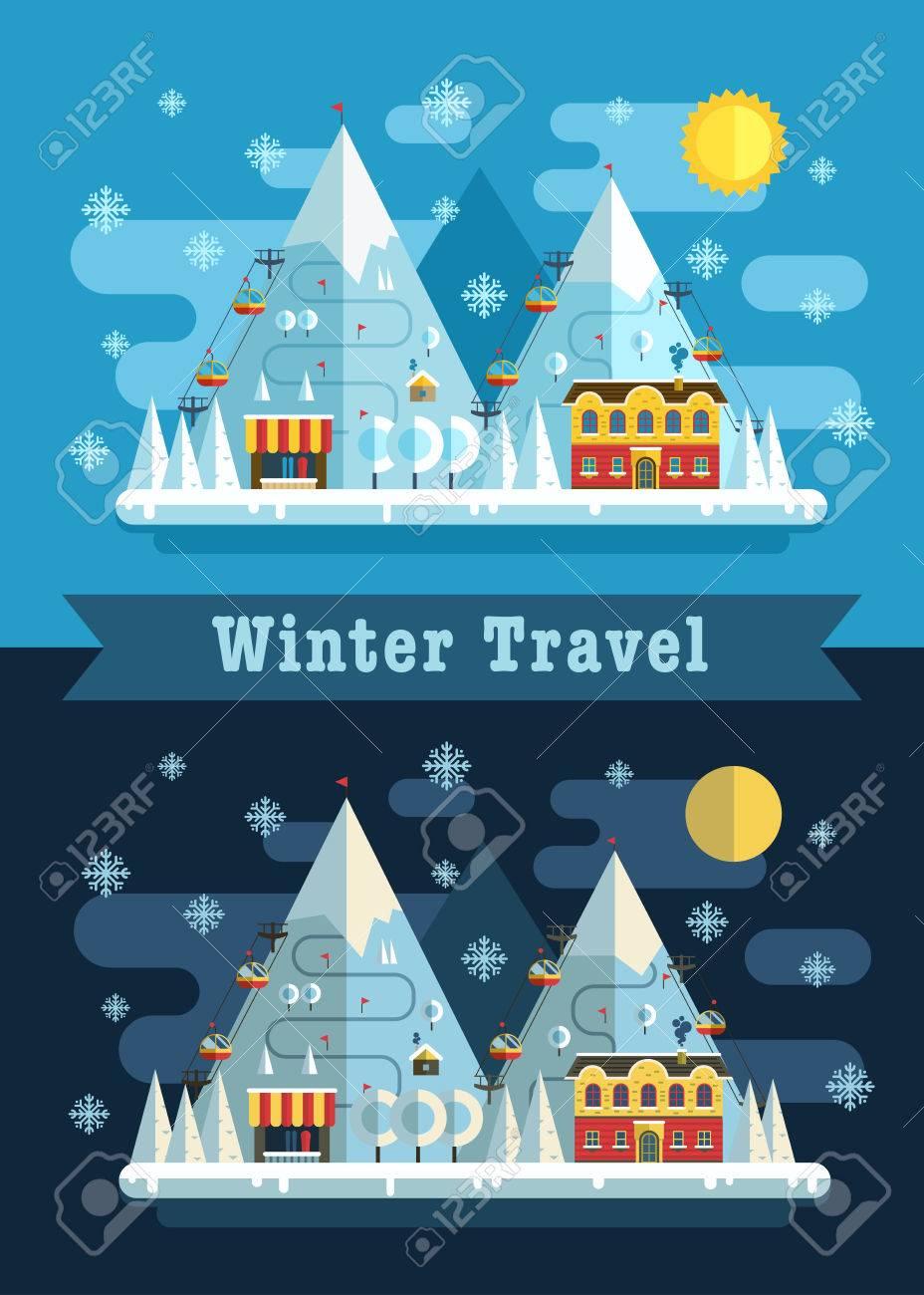 Winter Vacation Flat Landscape Ski Mountain Resort Concept