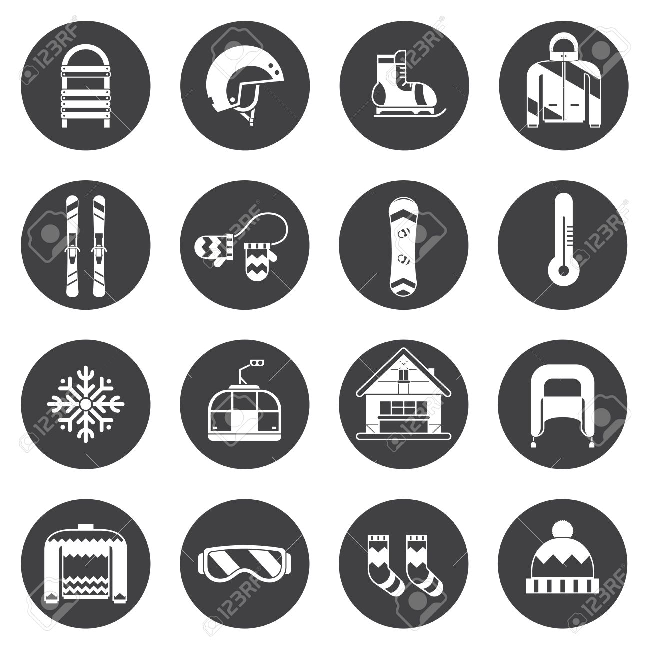 0315055836d3 Winter sports and fun outline icon collection. Winter resort silhoutte  pictogram set. Outdoor winter activity lifestyle concept icons.