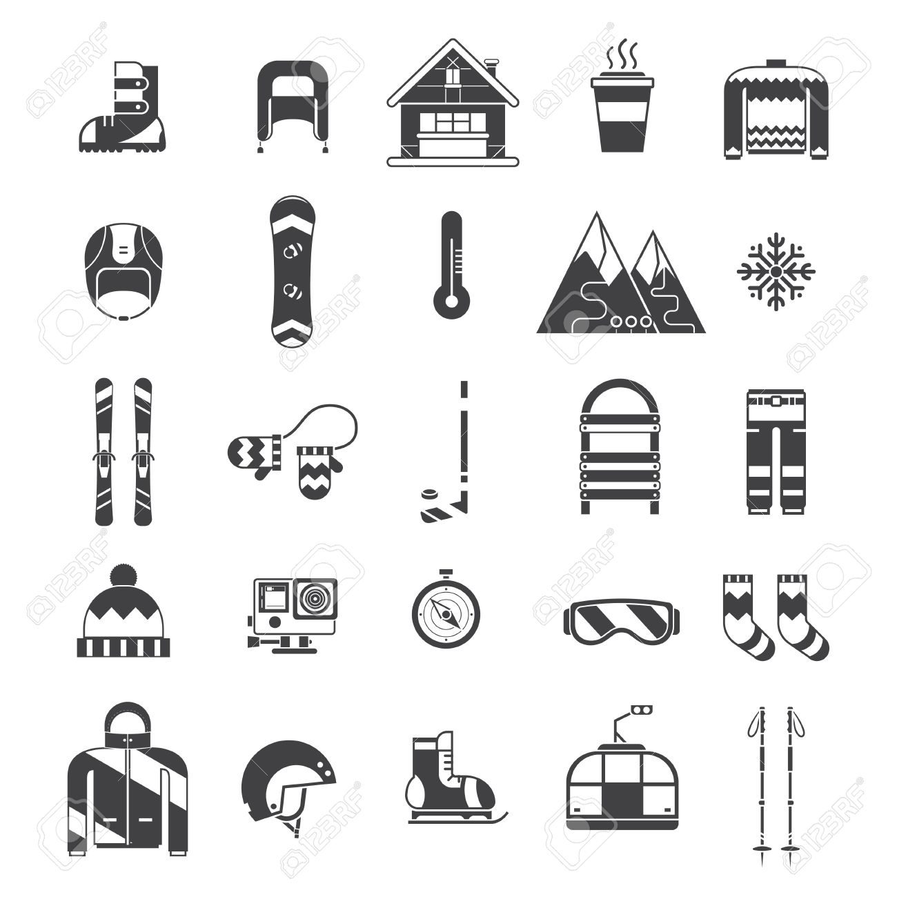 3012a5b9eb08 Winter sports and fun outline icon collection. Winter resort pictogram set.  Outdoor winter activity lifestyle concept icons. Snowboard suit