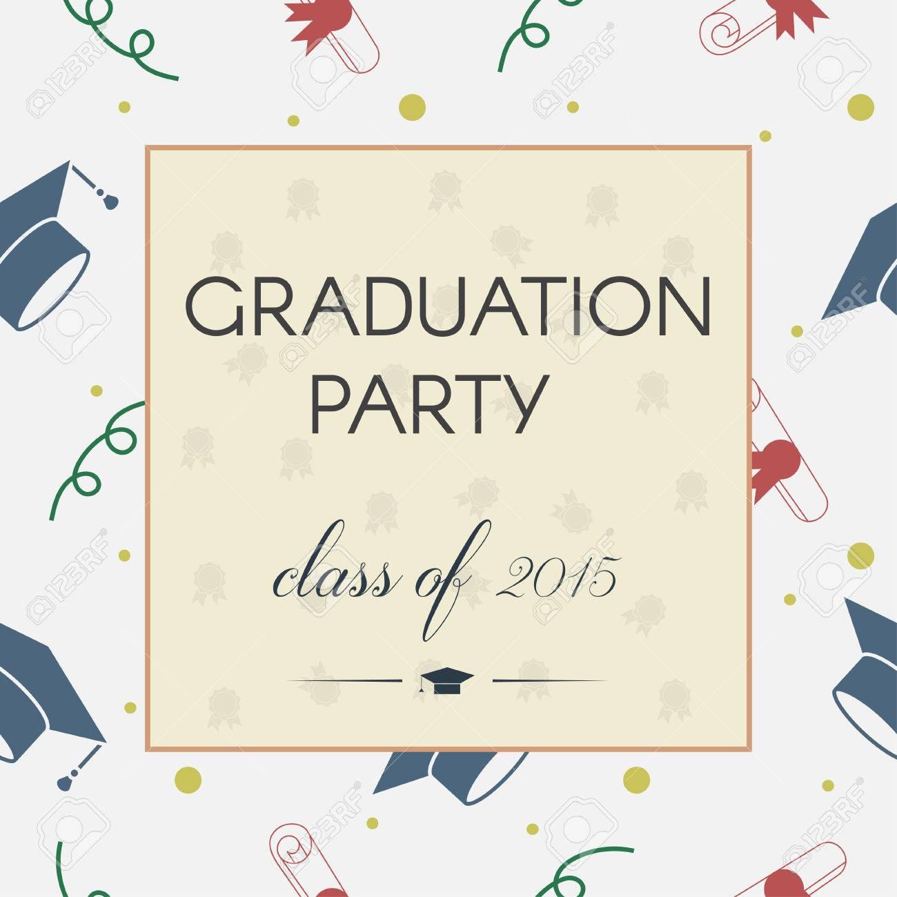 Vector Illustration Of Colorful Graduation Invitation Or Certificate - Graduation postcard template