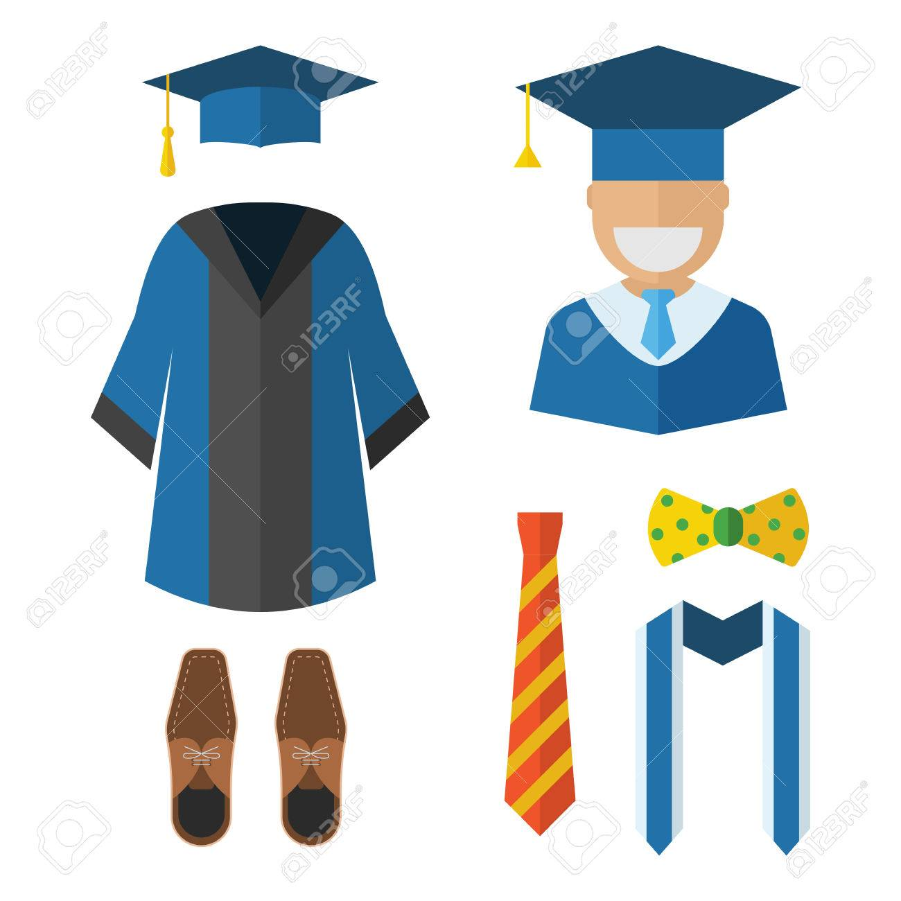 Graduation Clothes And Accessories Set. Graduate Gown, Tie, Ribbon ...