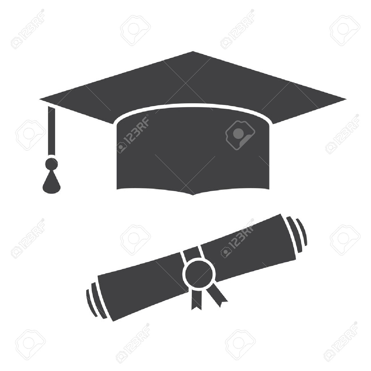 Graduation hat and diploma scroll outline vector icon. Graduation celebration cap silhouette pictogram for web and applications. Isolated vector graduation student hat - 53508308