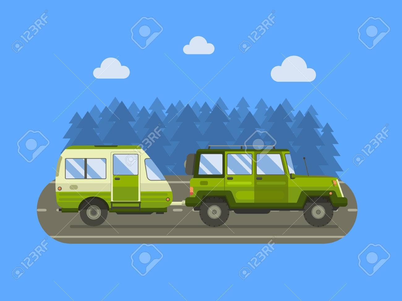 Road travel trailer and suv driving on forest area road family traveler truck summer trip
