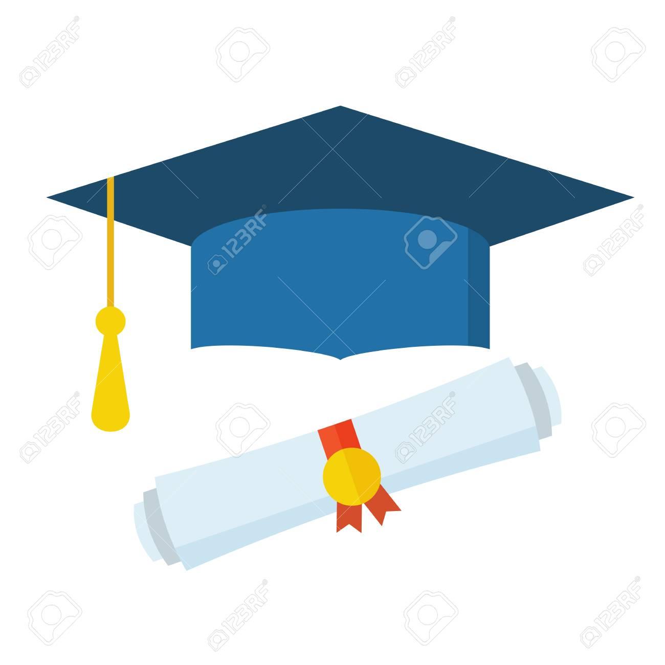 Foto de archivo - Sombrero de graduación y diploma desplazarse icono de  diseño plano. La graduación casquillo celebración icono de dibujos animados  web. badbf2b9998