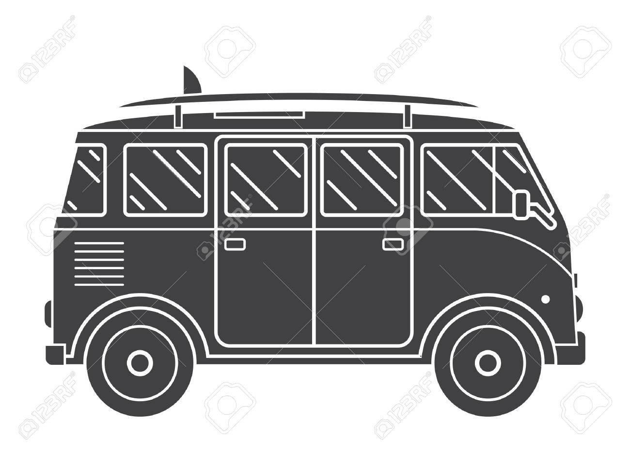 Travel Omnibus Family Camper Silhouette Traveler Truck Tourist Bus Outline Vector Icon RV