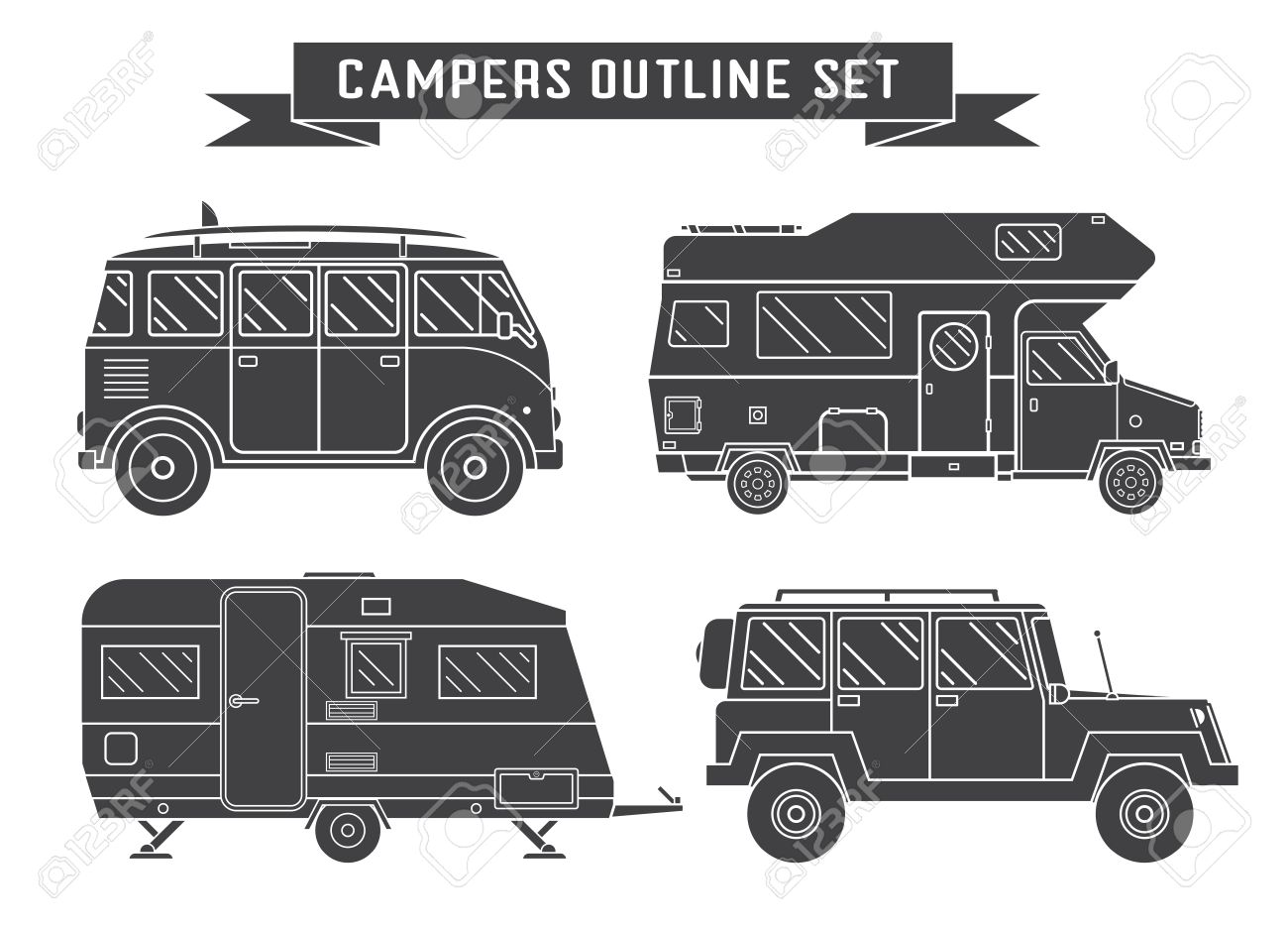 RV Travel Concept Set Camping Trailer Family Caravan Outline Icon Collection Traveler Trucks In