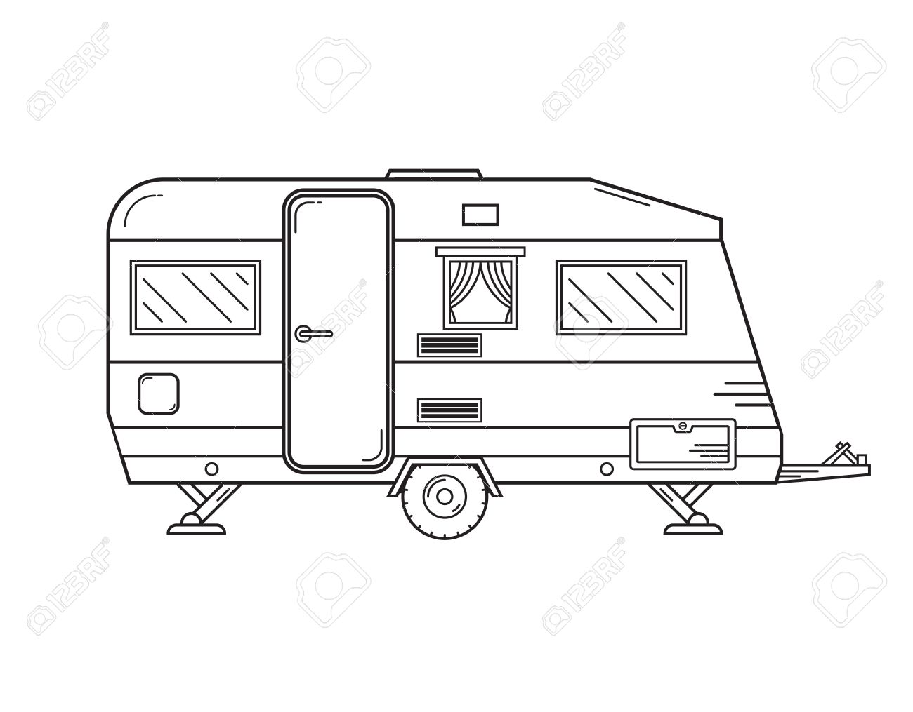 Camping Trailer Family Caravan. Traveler Truck Camper Outline ...