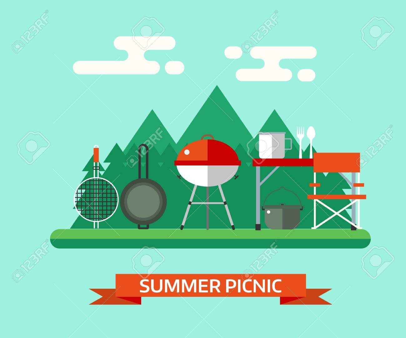 Bien-aimé Paesaggio Picnic Estivo. Famiglia Barbecue Vector Background  YR39