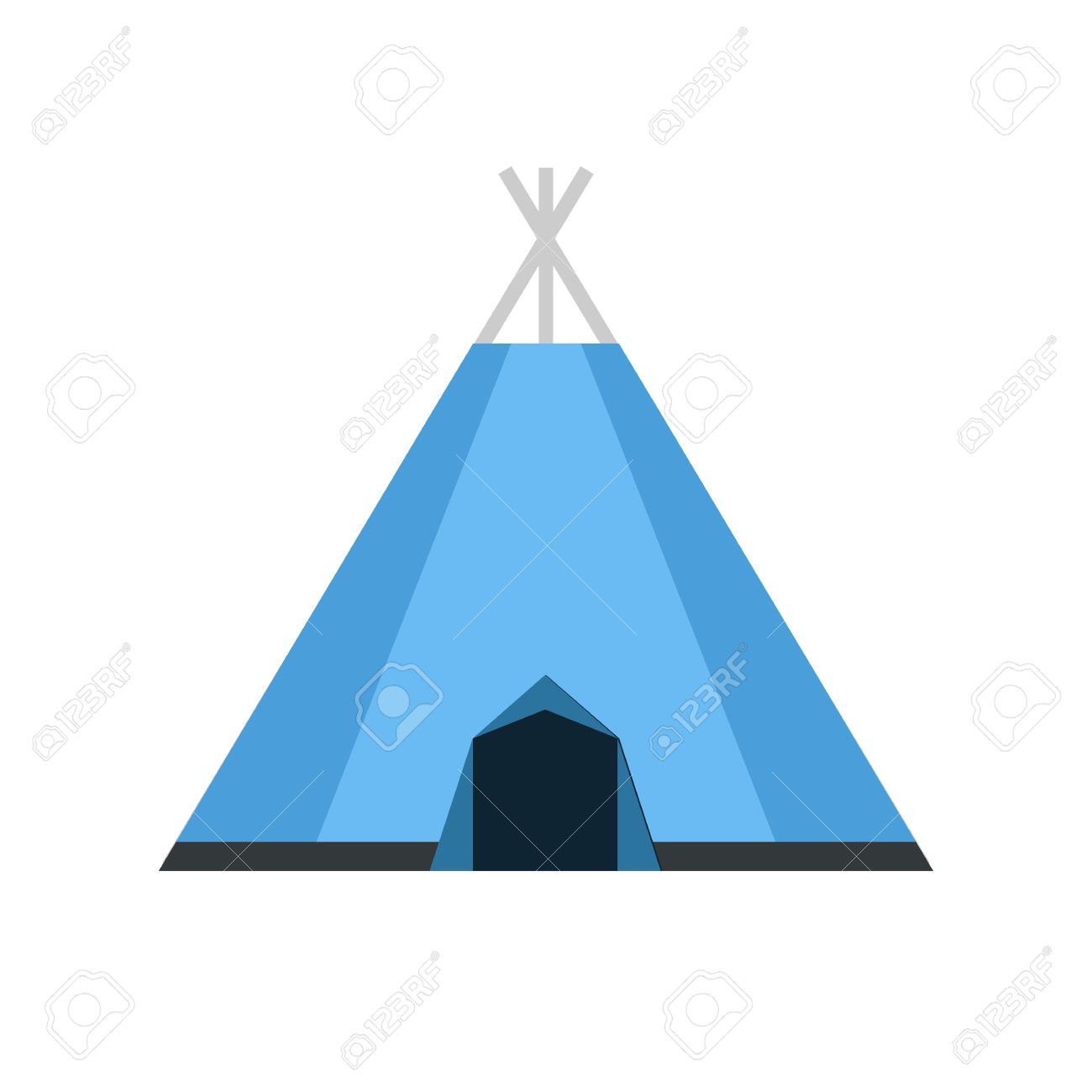 flat design tepee tourist hiking wigwam isolated on white background.