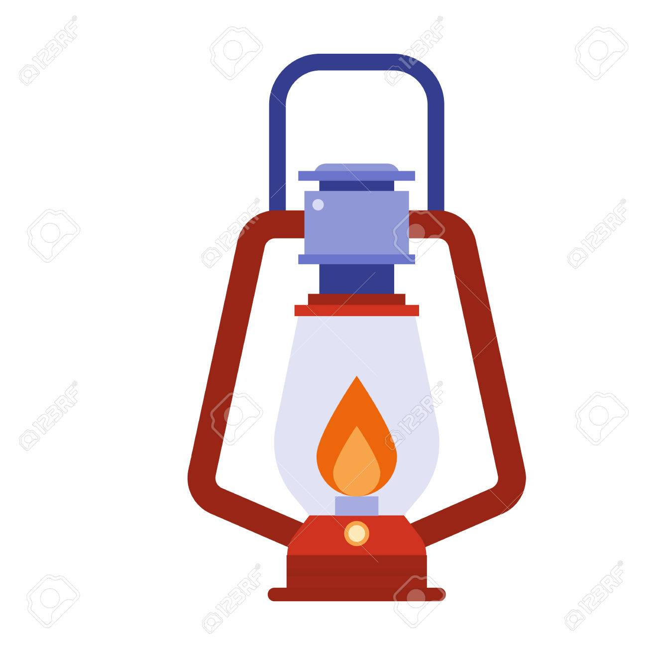 Camping Lantern Vector Icon. Single Tourist Lamp Isolated On ... for Camping Lantern Clipart  45hul