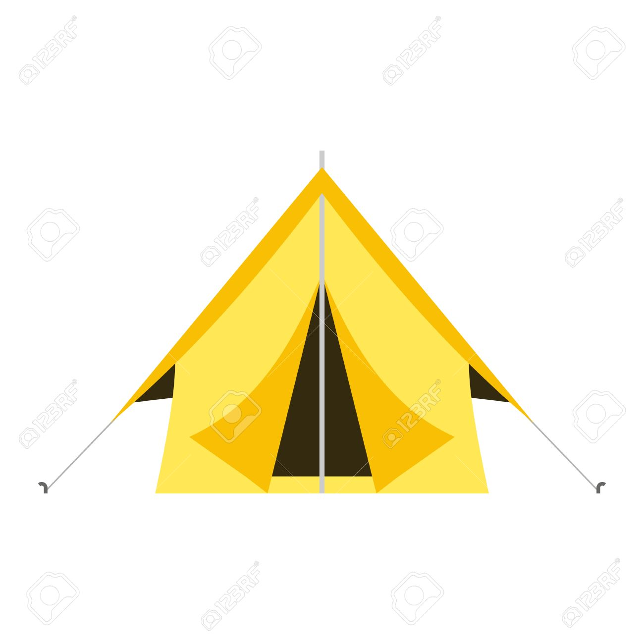 flat design tepee tourist hiking marquee isolated on white background.