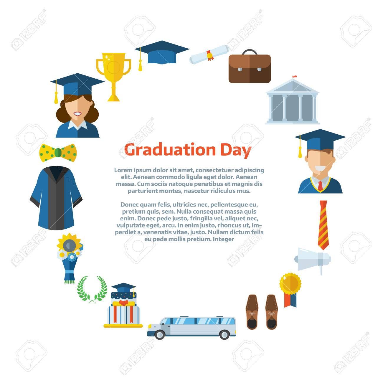 Illustration Du Certificat D Etudes Colore Ou Une Carte Postale Celebrer Modele D Invitation Avec Place Pour Le Texte Homme Et Femme Diplomes