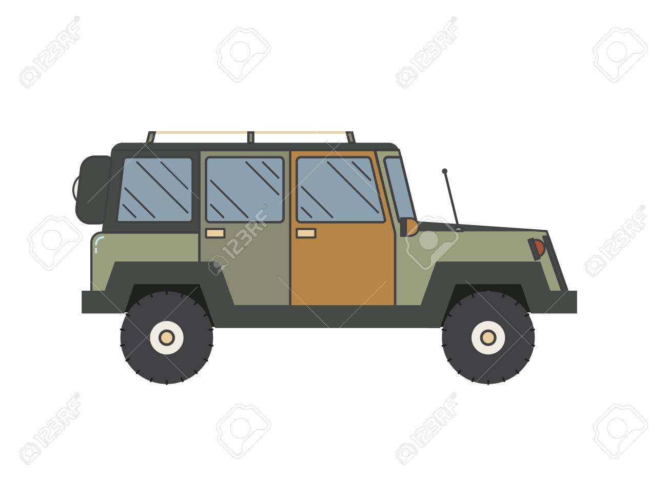 Adventure Traveler Truck Outline And Thin Line Icon Suv For
