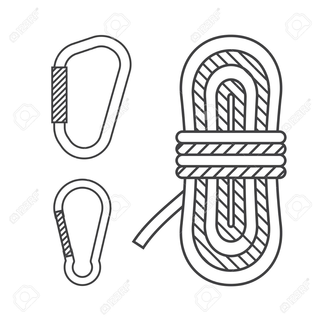 Mountaineering Vector Outline Icons Climbing Rope And Carabiners Royalty Free Cliparts Vectors And Stock Illustration Image 57190872