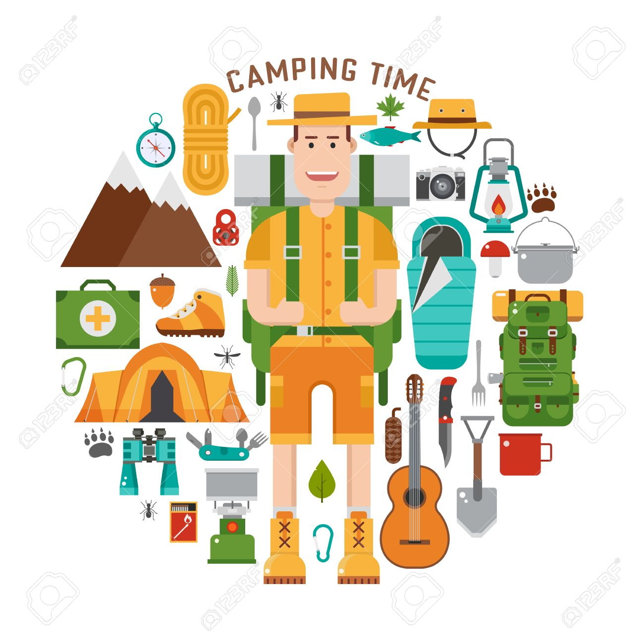 Camping Gear Set Backpacking Element Stock Vector