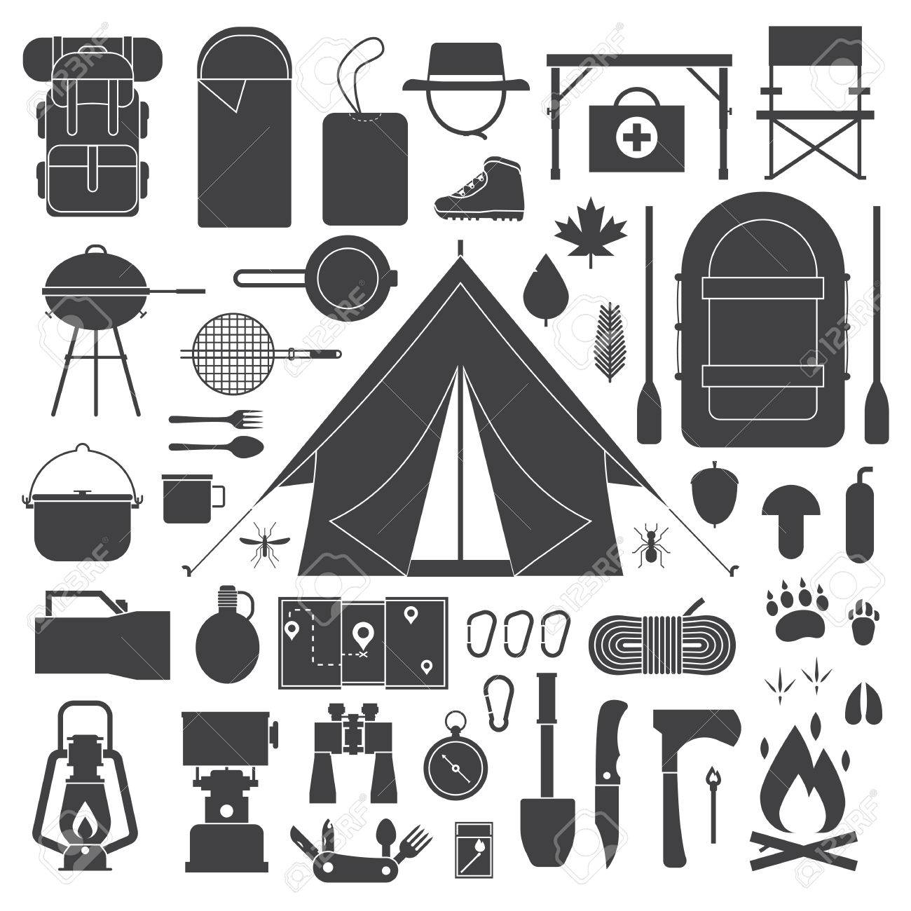 Camping Vector Outline Icons Collection Hiking Outdoor Elements Kit Camp And Hike Gear Icon